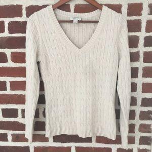 Loft cable knit cream sweater Medium